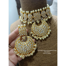 Indian Gold Plated Bollywood Pachi Kundan Necklace Earrings Set Bridal Jewelry