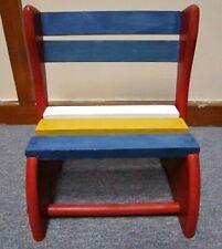 Vintage children's wooden folding step stool seat chair child