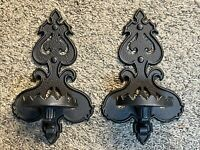 VINTAGE ART DECO HOMCO 1386 BLACK GOTH ALUMINUM METAL WALL SCONCE CANDLE HOLDERS