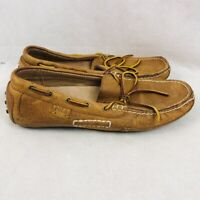 Polo Ralph Lauren Mens Wyndings Driving Boat Shoes Brown Leather Bow Slip On 7 D