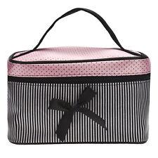 Damen Make-up Taschen Beauty Square Bow Stripe Cosmetic Bag Schwarz DE