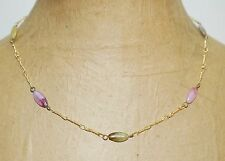 Vintage Opalescent Pink Blue Green Molded Glass Bead Gold Tone Chain Necklace