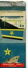 Vintage Johnson Line Sweden Matchbox Label, Rare Collectible