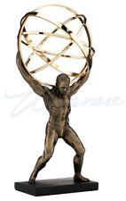 Male Nude Bodybuilder Atlas Carrying World as Open Sphere Terrestrial Statue