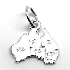 Australia Map Charm Pendant STERLING SILVER