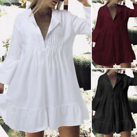 UK Women Bell Sleeve Evening Casual Loose Cotton Pleated Flare Mini Short Dress