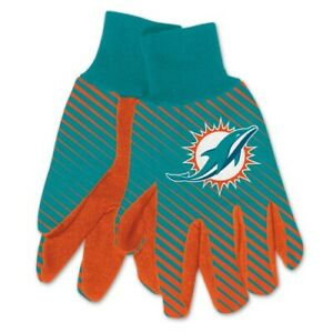 Miami Dolphins Football NFL Adult Full Color Dye Sublimated Work Grip Gloves