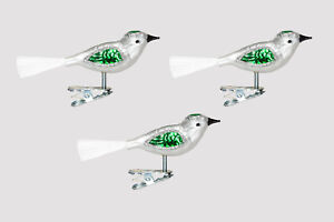 Christbaumschmuck Vogel silber / grün 3 Stück  Lauscha mundgeblasen Glas H