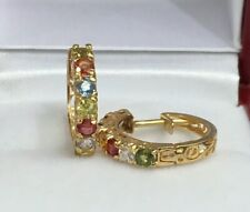 14k Solid Yellow Gold Small Hoop Earrings, Natural Color Sapphire. 2.58 Grams