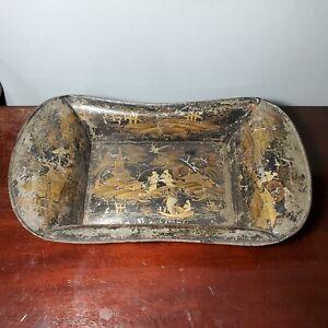 19th Century English Scenic Toleware Tin Bread Tray w/ Black & Gold Decoration