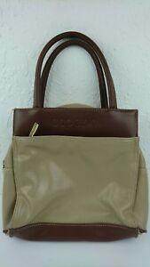 Vintage Capezio Brown 2 Tone Tan Faux Leather Handbag Purse