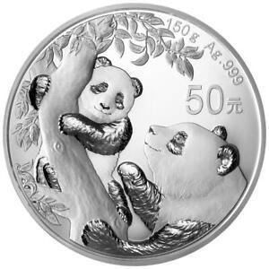 China - 50 Yuan 2021 - Panda - im Etui - 150 gr Silber PP