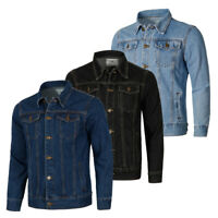 Mens Denim Jeans Jacket Long Sleeve Wash Trucker Jacket Motorcyle Rider Jackets