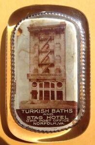 1900s NORFOLK, VA, TURKISH BATHS and STAG HOTEL GLASS PAPERWEIGHT, VINTAGE