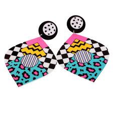 Pair of Laser Cut Acrylic Earrings Colorful Cubic Dangle Punk Earstuds