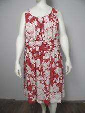 Talbots Womens 24W Red Floral Print Sleeveless Knee Length Chiffon Sheath Dress