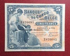 Congo Belge - Belgique - Très Joli Billet de 5 Francs du  10-03-1944