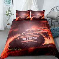 Linen Single/Double/Queen/King Bed Fast Furious Car Quilt Duvet Doona Cover Set