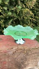 Beautiful Vintage Retro Green Glass Cake Plate Bowl On Silver Metal Stand *