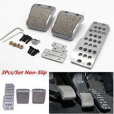 3pc Silver Car Non-Slip Pedal Foot Rest Pad Cover for Honda Accord Civic Prelude