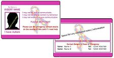 Autism ICE - In Case of Emergency - Medical Alert ID Card - with Photo - Pink.
