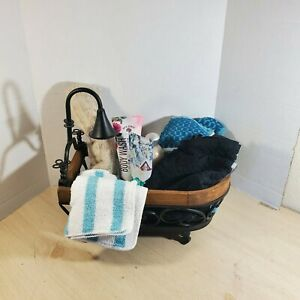 Wire Wood Trim Tub & Faucet Basket Bath Planter Holder Outdoor Indoor Home Decor