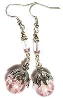 Long Silver Pink Glow In Dark Earrings Glass Bead Tibetan Antique Vintage Style