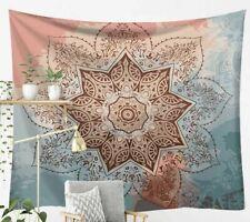 "NEW Lotus Flower Mandala Pink Blue Cream Tapestry 59""x40"" Boho Wall Decor"
