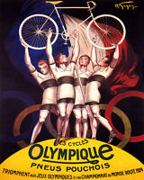 POSTER 1924 OLIMPIQUE CYCLES BICYCLE FRENCH CYCLING BIKE VINTAGE REPRO FREE S/H
