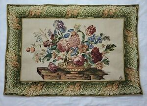 Victorian Floral Rose Woven Tapestry Wall Hanging Hollywood Regency Lined 45x31