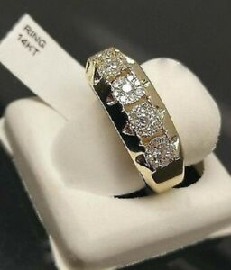 Men's 14K Yellow Gold Filled Finish 5-1Ct Round Cut Diamond Stone Wedding Band