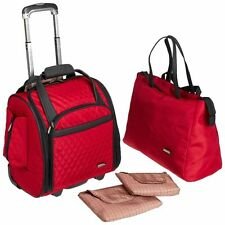 d0e3efc70 New Travelon Wheeled Underseat Carry-On Luggage with Back Up Bag Red