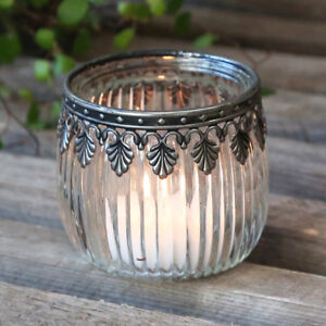 Glass Tea Light Candle Holder with Antique Silver Metal Decor Vintage Style