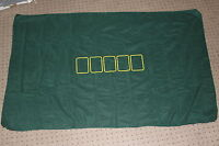 Green fabric poker table cover with marked spots for 5 cards size 750 x 1220mm