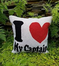 """~RARE~Chandler 4 Corners """" I LOVE MY CAPTAIN"""" HOOKED PILLOW~MUST SEE!!!!~"""