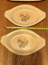 New listing Lot of 2 Treasure Craft Crockery Oval Serving Dish 872 Ovenware Flowers Usa !