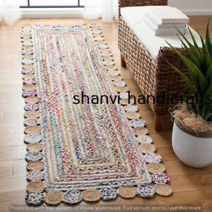 Indian Braided Jute & Cotton Hand Woven Natural 80x360 CM Rug for Home Decor Rug