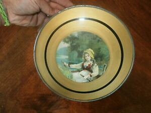 Vintage Antique Round Glass Chimney Flue Cover Victorian Girl Rowboat