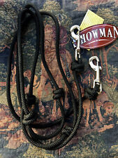 Newv Black 8 Ft Round Knotted Roping Barrel Contest Reins w/ Easy to Use Clips
