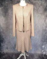 NEXT 2 Piece Skirt Suit Set Pink Tweed Boucle Fringe Fishtail Skirt Blazer UK 12