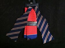 TOMMY HILFIGER MENS NEW MULTICOLOR 100%SILK BOW TIE SET