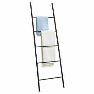 mDesign Metal Free Standing Bath Towel Ladder Storage Organization - Matte Black