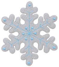 bk35 Schneeflocke Winter Eiskristall Aufnäher Bügelbild Flicken Patch 7 x 8 cm