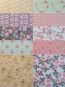 """10 x Folk Song 6""""x 6"""" Papers  For Cardmaking"""