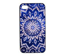 Indian Mandala Blue Floral Pattern Design Hard Case Cover for iPhone 4 4S 4G 4th