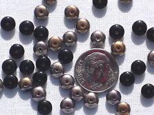 (50) Czech Disc Spacer Beads - 6mm Round - 1/2 Black/Capri Gold - #RJ 201 X03