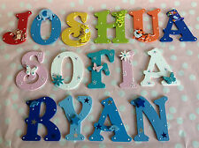 Hand Painted Baby Birthday Christening Children Name Letter Plaque Present