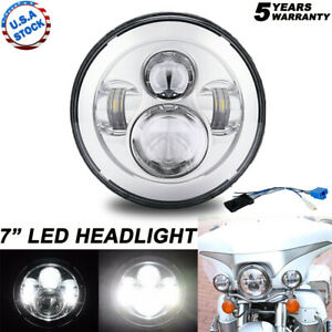 7inch H4 LED Chrome Motorcycle Headlight For Harley Street Glide Softail FLHX F
