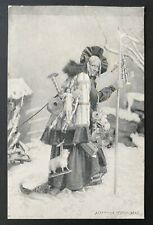 Vintage Italian Christmas Postcard ~ Could This Be Lady Claus?? Sepia Tones