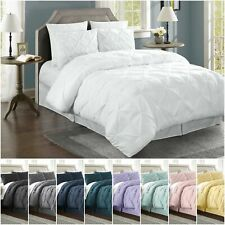 Chezmoi Collection Berlin 3pc Pinch Pleat Pintuck Duvet Cover Set w/Corner Ties